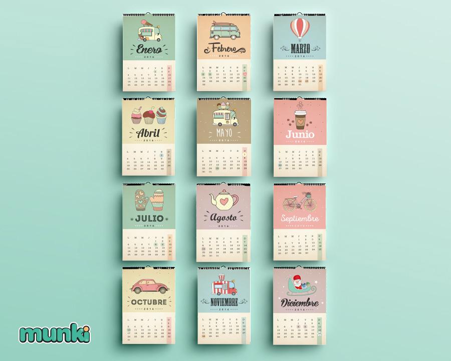 Munki dise os imprimibles calendario 2016 - Calendarios navidenos personalizados ...