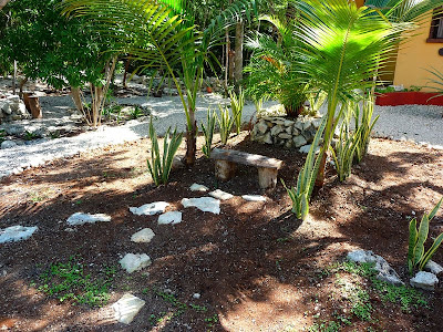 jardin casa Akumal isla central despues - banca