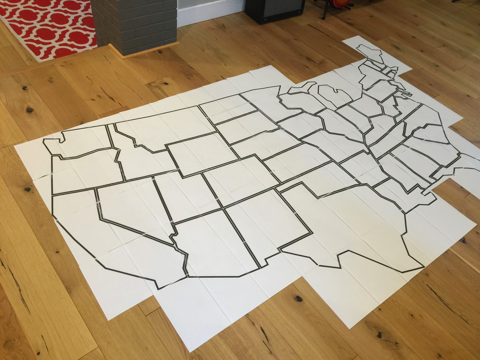 it cuts the photo into 8 1 2x11 pieces i printed out the map on 84 sheets and taped them together into a giant full scale bookshelf template