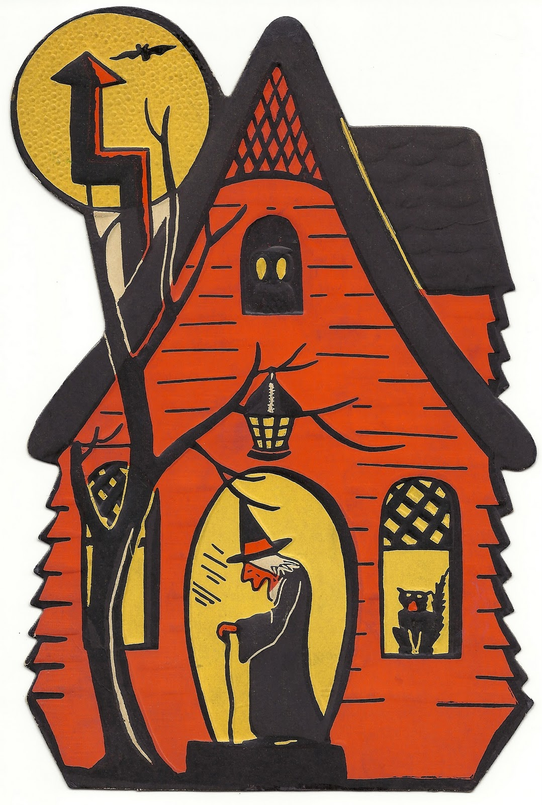 Halloween haunted houses on pinterest haunted house for Antique halloween decoration