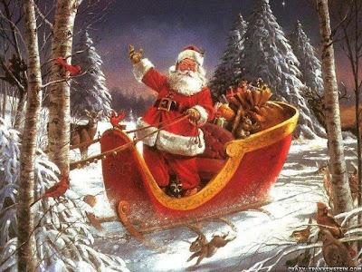 Santa Claus en el trineo con los regalos