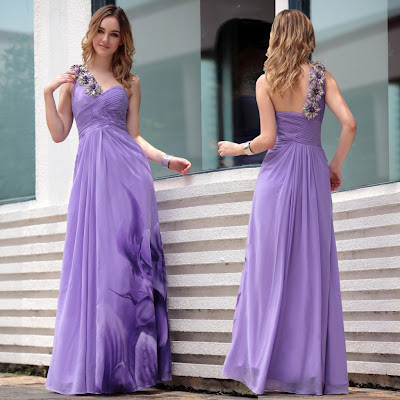 Lilac One Shoulder Floor Length Dress