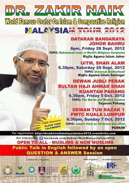 Wordless Wednesday - Dr Zakir Naik Malaysian Tour 2012