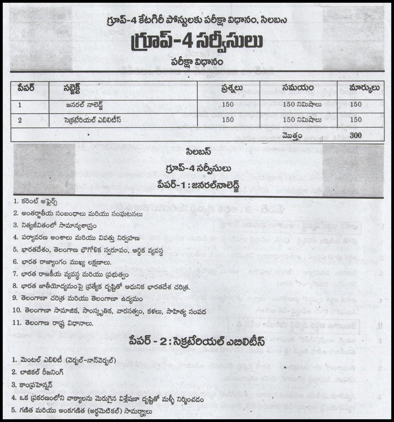 telangana tspsc group 4 exam syllabus in telugu with scheme of exam pattern detailed pattern