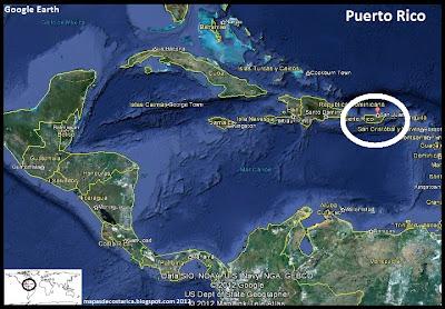 Mapa de Puerto Rico en Centroamérica y El Caribe, Google Earth