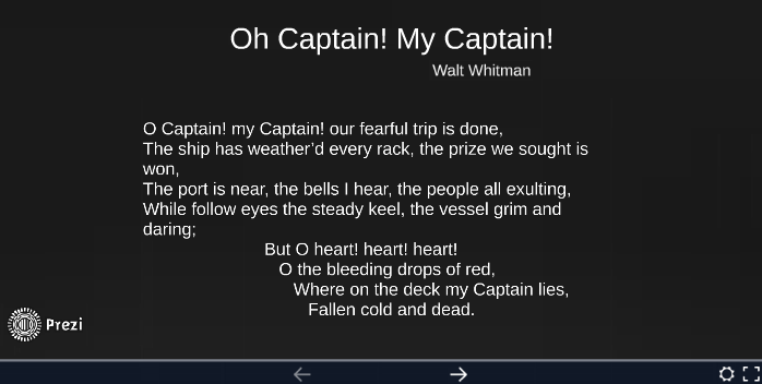 what type of poem is oh captain my captain