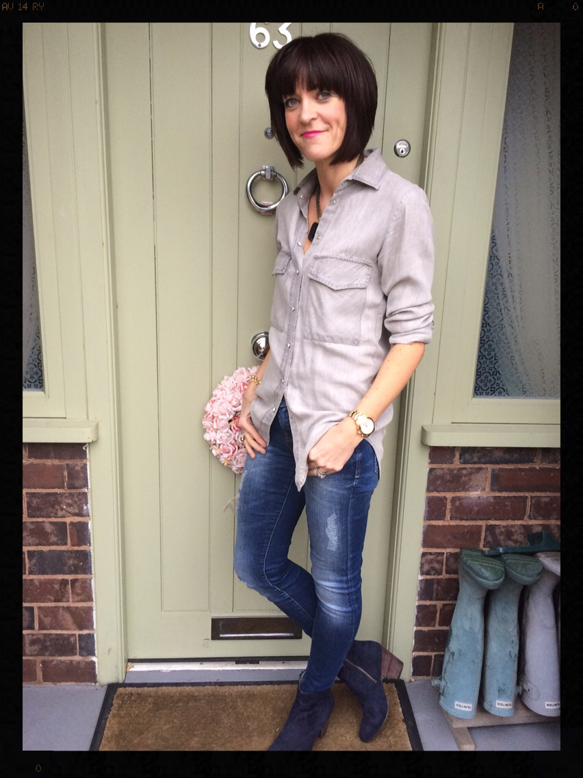 My Midlife Fashion, Double Denim, skinny jeans, denim shirt, navy ankle boots, Zara, Boden, boho boots