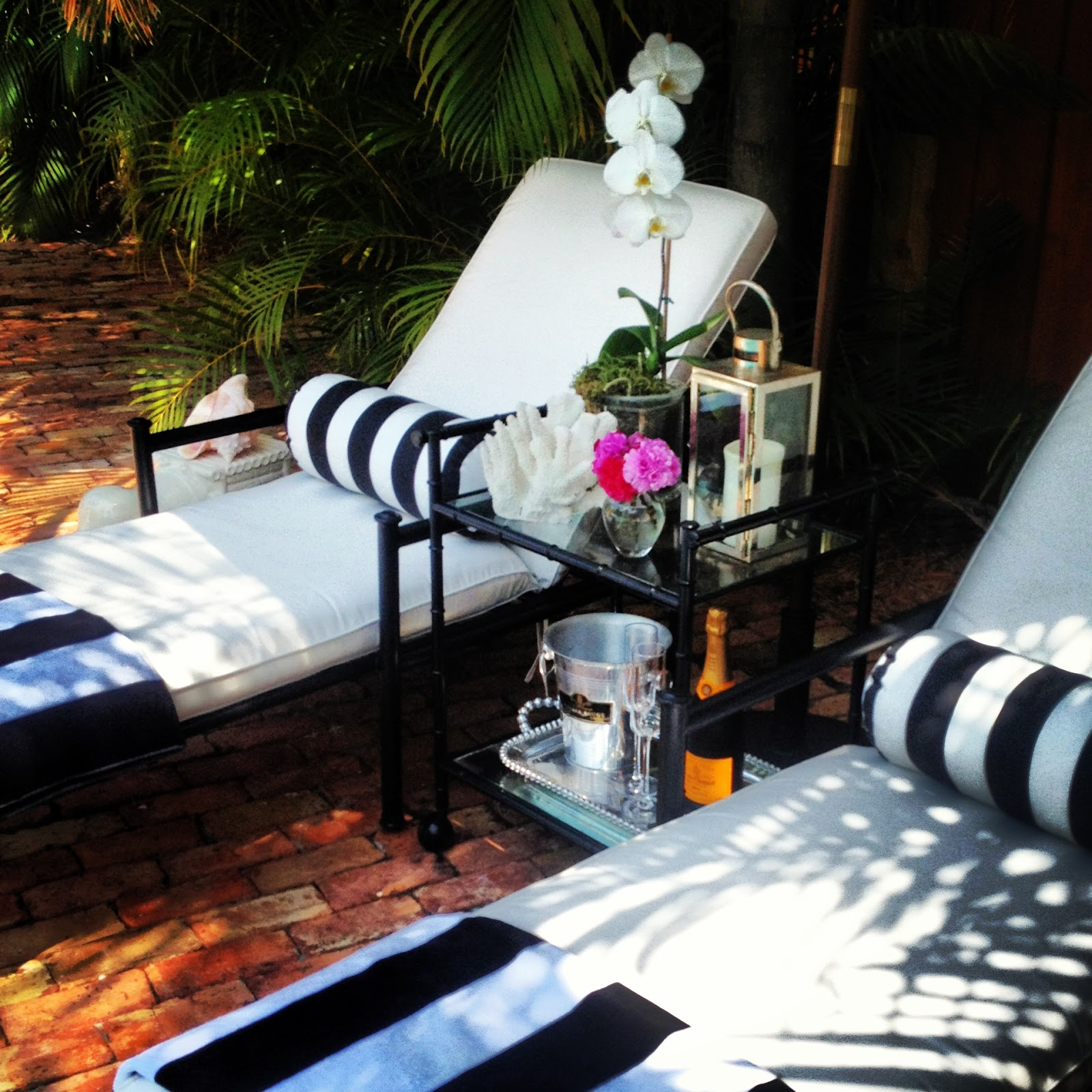 Luxe report luxe decor chaise lounge makeover for Black and white striped chaise lounge cushions
