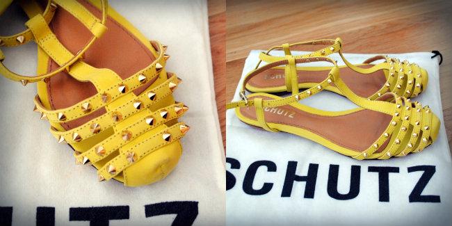 sandalia spikes amarela schutz, daniela pires