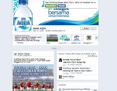 sebagai wujud dari usia AQUA yang sudah berumur 40 tahun, Aqua mengembangkan Fanspage-nya di Facebook untuk berbagi dengan seluruh customernya