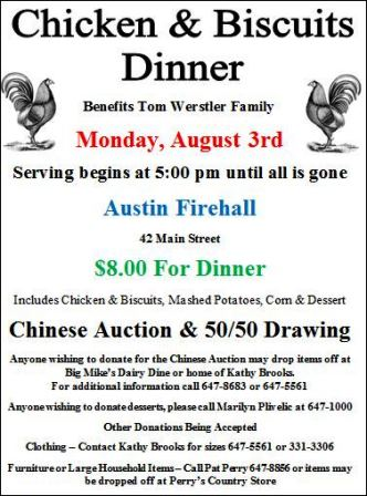 8-3 Chicken & Biscuits Dinner Benefits Wersler Family