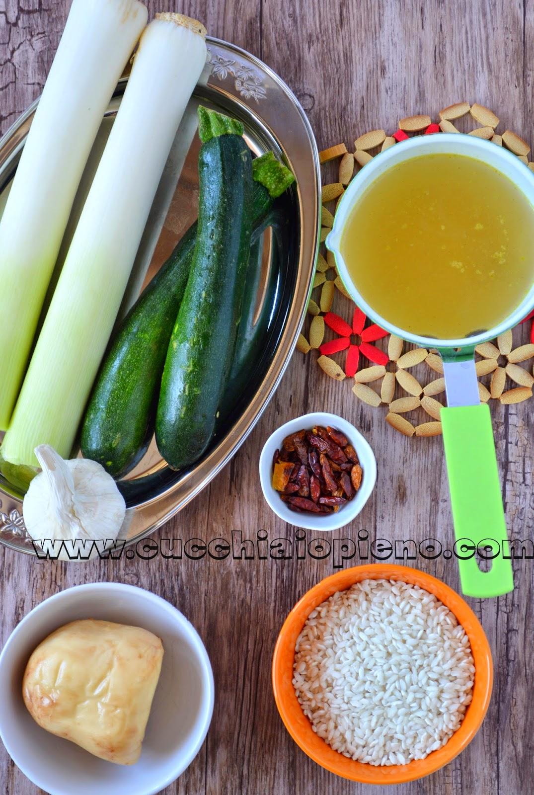 ingredientes para fazer risoto de alho-poró, abobrinha e provolene
