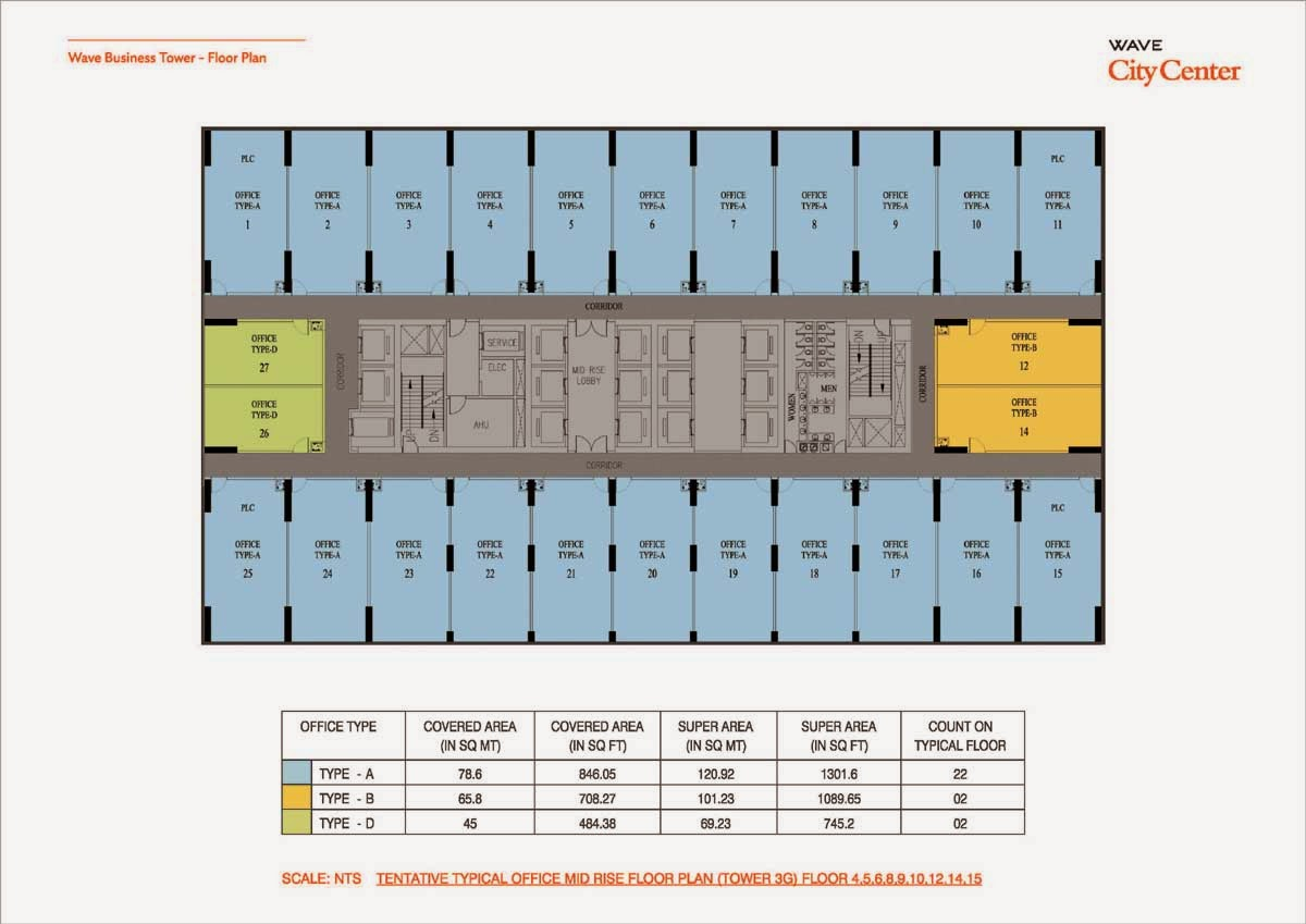 Wave Business Tower Floor Plan Tower 3G 4,5,6,8,9,10,12,14,15 Floor Plan
