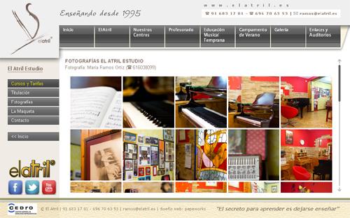 página web de El Atril Estudio: Escuelas de música con clases de lenguaje musical, piano, guitarra, violín, canto..., para todas las edades, en Getafe, Leganés, Recas, Toledo, Madrid