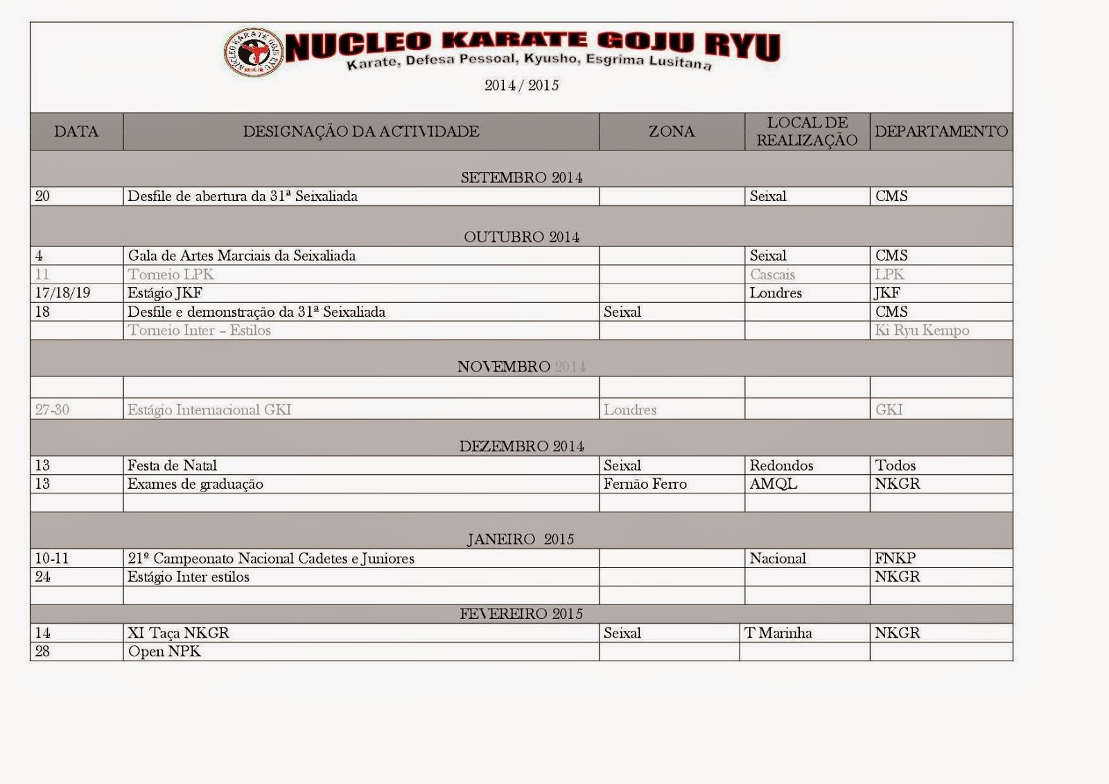 Calendario NKGR  2014 - 2015