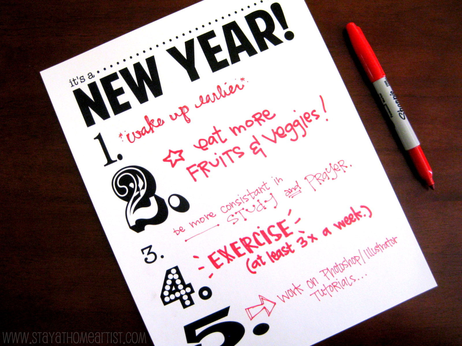 Stayathomeartistcom Its A New Year Resolution Printable