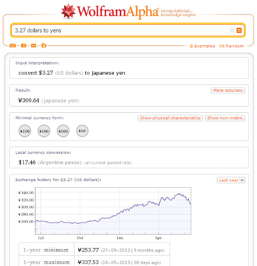 Resultado de convertir dólares a yenes