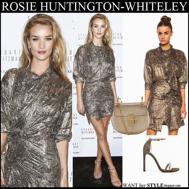 Rosie Huntington-Whiteley in metallic mini dress Isabel Marant Pasadena with gold shoulder bag Chloe Drew and ankle strap sandals stuart weitzman nudist want her style september 29