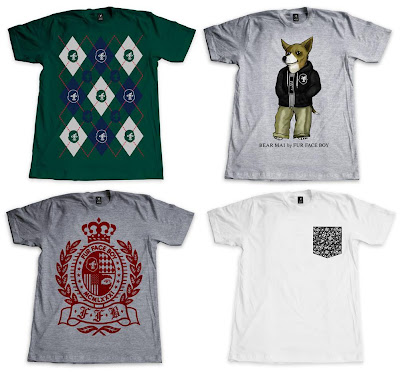Fur Face Boy Series 6 T-Shirt Collection - FFB Argyle, Bear Mai by FFB, FFB Crest, FFB Floral Pocket Tee T-Shirts
