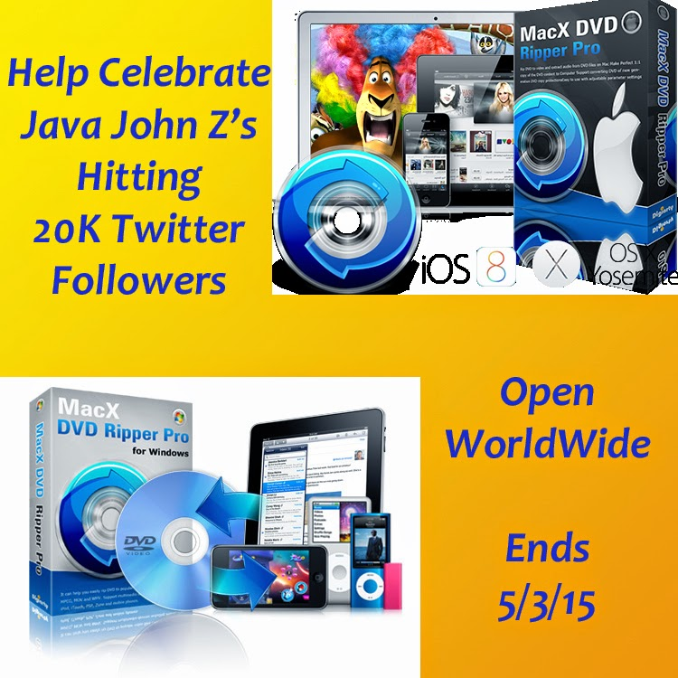 Enter the Java John Z's 20K Twitter Follower Celebration Giveaway. Ends 5/3