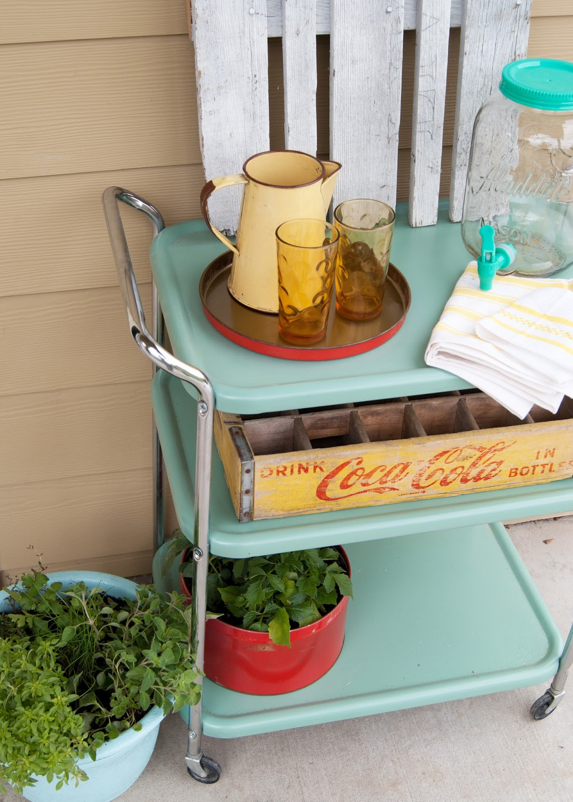 Vintage cart for outdoor entertaining