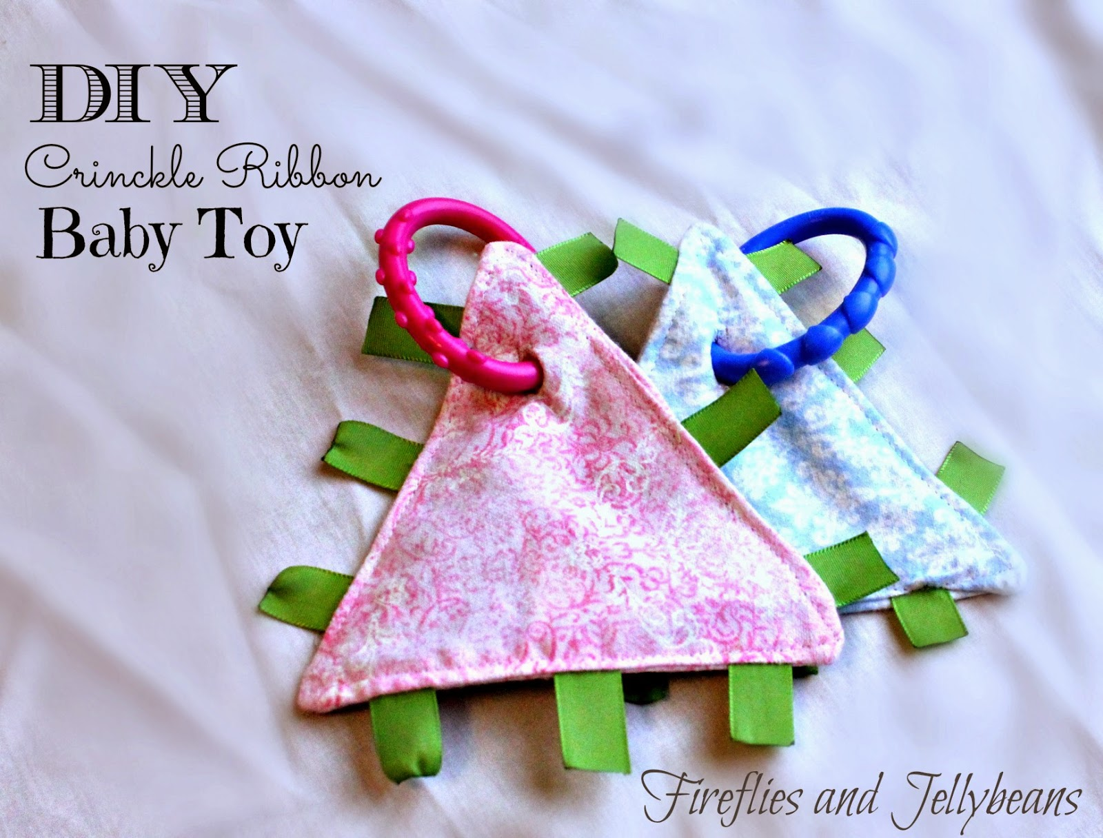 Fireflies and Jellybeans: DIY Crinkle Ribbon Baby Blanket Toy