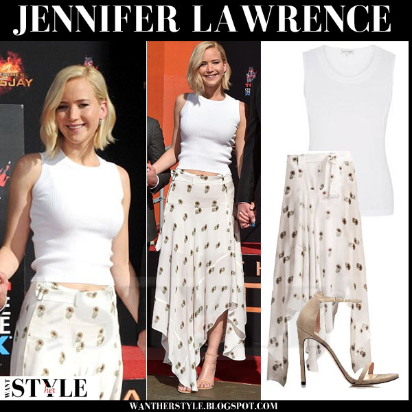 Jennifer Lawrence in white sleeveless top, silk print skirt and ankle strap sandals what she wore