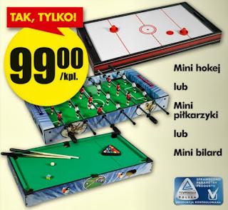 Mini hokej lub mini piłkarzyki lub Mini bilard z Biedronki ulotka
