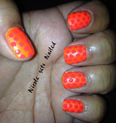 Neon Orange Polka Dots Tone on Tone Manicure