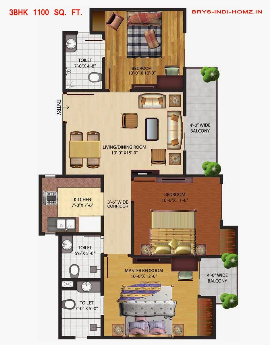 BRYS IndiHomz :: Floor Plans 3 BHK 1100 Sq. Ft.