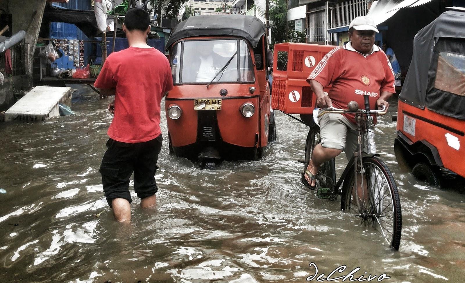 Banjir di Mangga Besar Jakarta bulan Januari 2014