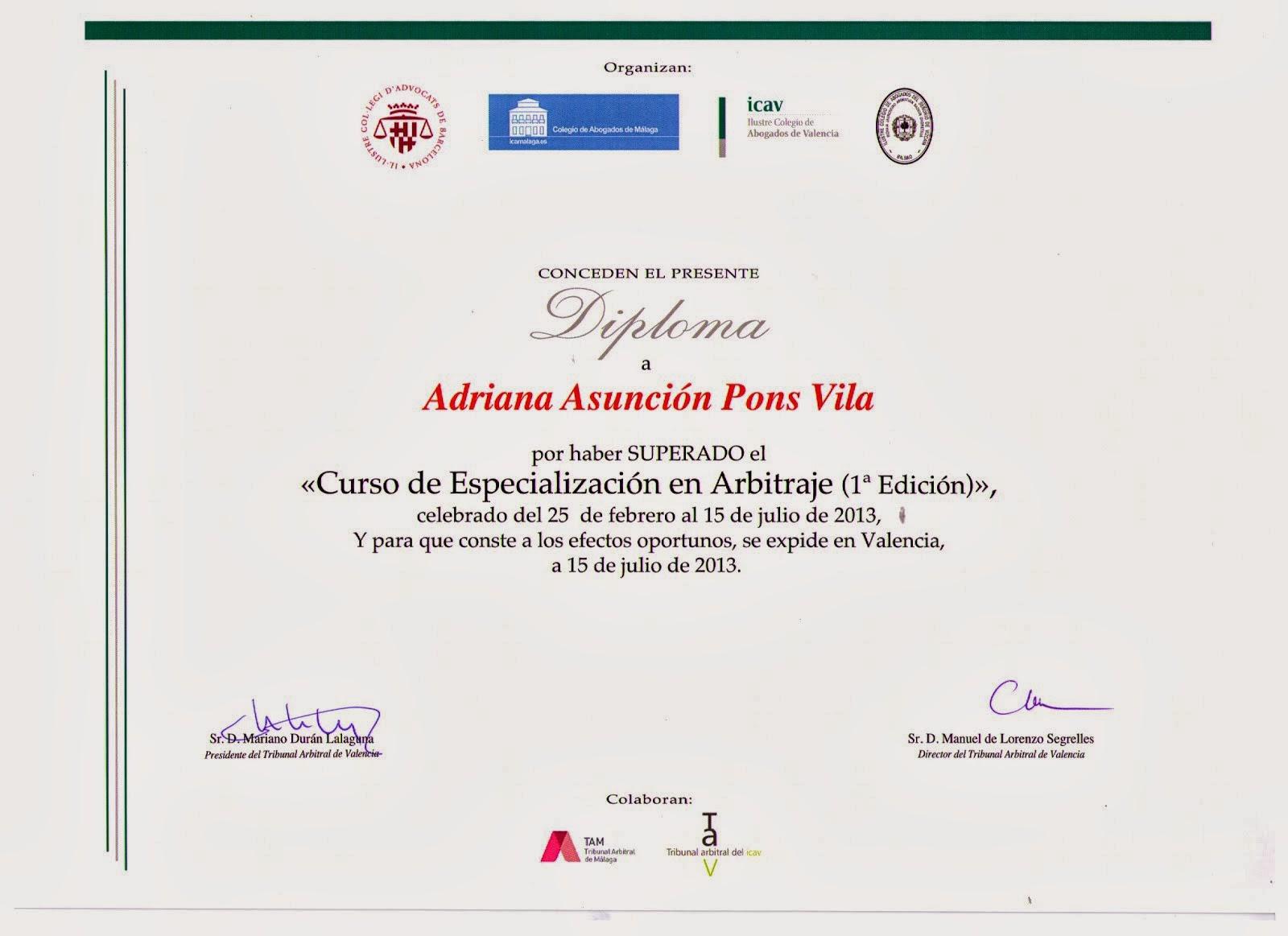Reconocimiento profesional de especialización.