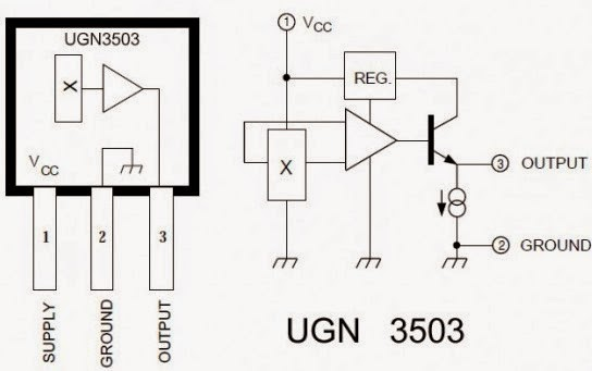 rpm sensor circuit schematic for robotics using ugn3503