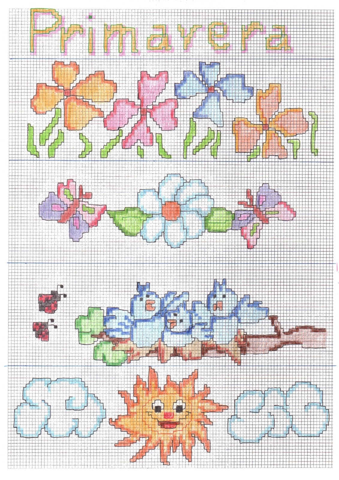Paomamma primavera a punto croce spring cross stitch for Schemi a punto croce gratis
