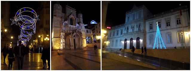 Coimbra Portugal Camara Pinheinho natal arbol luces iluminaçao navidad panteon panteão