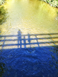 river, bridge, shadows, people, nature