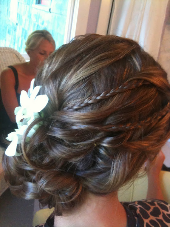 Side Updo with Braids and Orchids