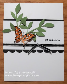 Card made with Stampin'UP!'s Papillon Potpourri stamp set and colored with DSP