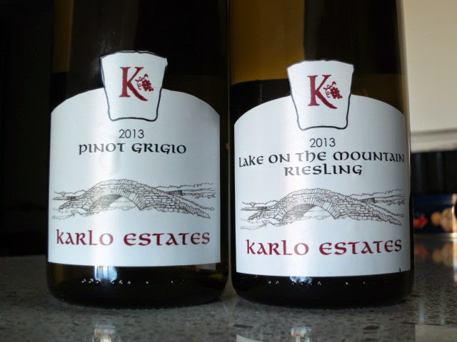Wine Reviews of Karlo Estates 2013 Pinot Grigio and 2013 Lake on the Mountain Riesling from Prince Edward County, Ontario, Canada