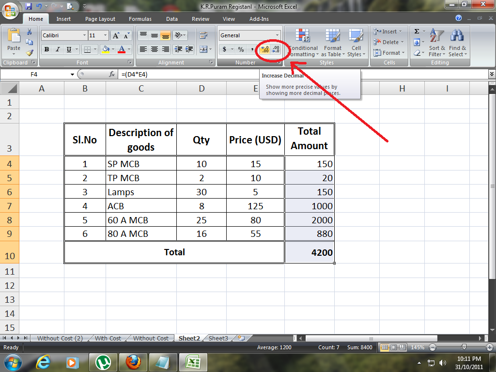How to increase decimal places in excel accounting taxation