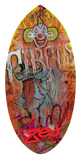 Zed Skimboards Artist Series by Chris Dobell hand painted vintage sign art