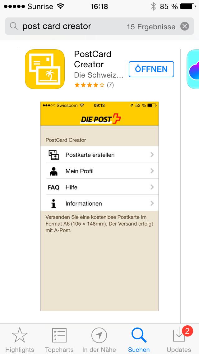 mit Strich und Faden | Postcard APP Gratis Grusskarten Schweizer Post