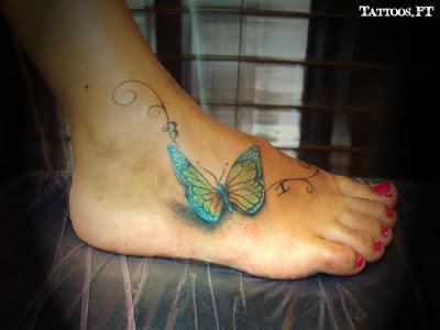 tatuagens da Borboleta azul no pé
