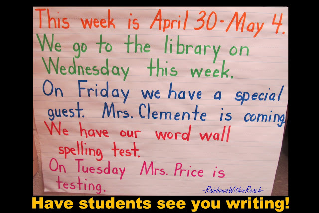 anchor chart for kindergarten week, handwriting sample for kindergarten