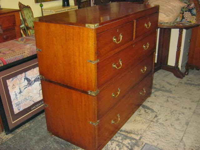 Funk u0026 Gruven A-Z: 1860 MAHOGANY CAMPAIGN STYLE CHEST OF DRAWERS