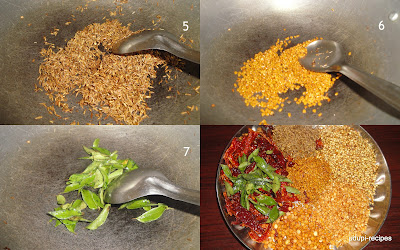 Udupi sambar powder frying ingredients