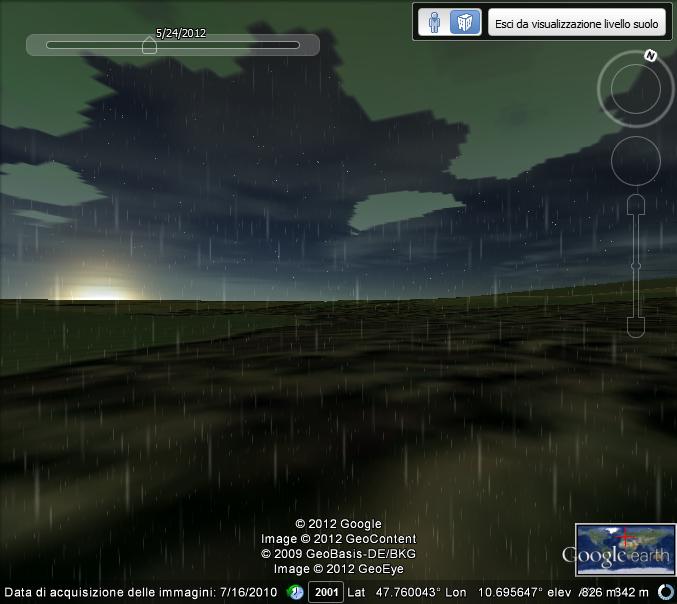 Luce solare applicata ad un'animazione precipitazione piovosa