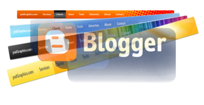 Логотип Blogger и несколько меню для сайта на фона