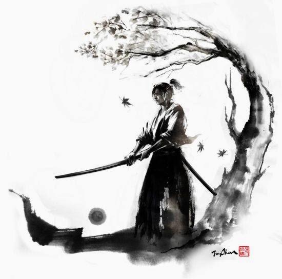 Jung Shan Chang ilustrações pinturas tinta manchada fantasia medieval japonesa samurais