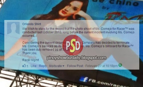 Racer management takes down Deniece Cornejo's billboard
